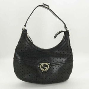 Gucci Black Perforated Leather Reins Hobo 871859